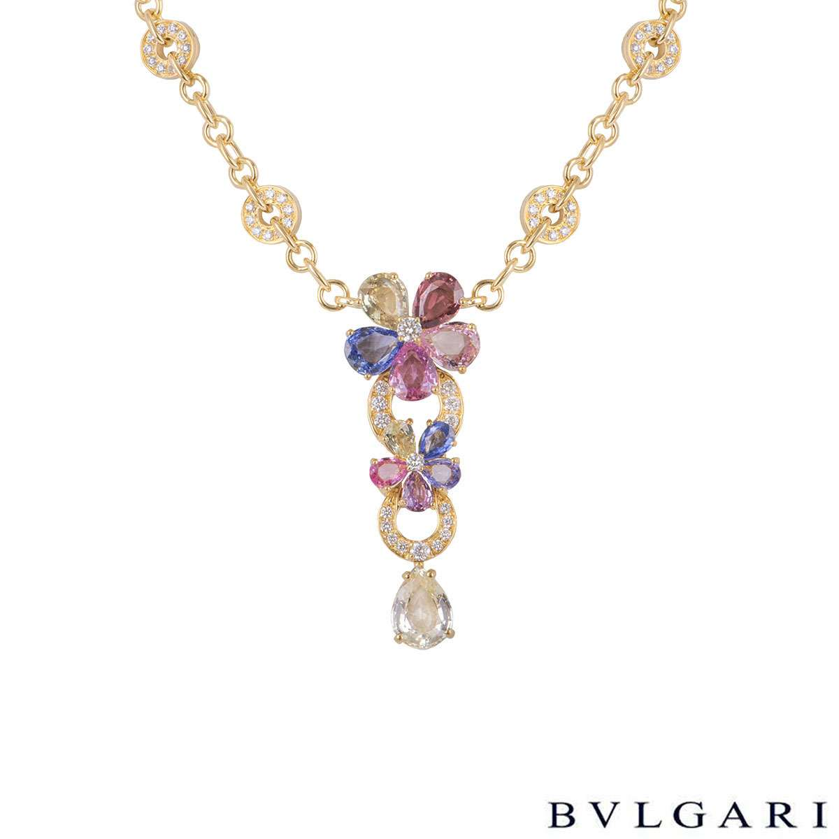 Bvlgari Yellow Gold Diamond Sapphire Flower Necklace